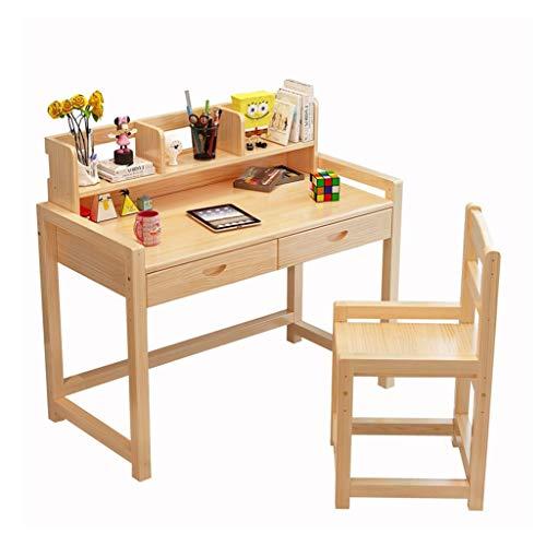 De tables et chaises Bureau étudiant en Bois Massif Table et Chaise pour Enfants pouvant être relevée Bureau et chaises pour la Maison (Color : Wood Color, Size : 80x50x75cm)