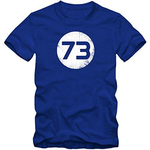 Sheldon T-Shirt #1 | Herren | 73 Lieblingszahl | The Big Bang Theory | TV-Serien-Fun-Shirts, Farbe:Blau (Royalblue L190);Größe:L