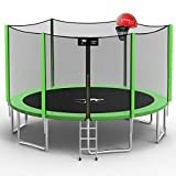 Kangaroo Hoppers 14 FT Trampoline for Kids and Family, Come with Enclosure Net,Basketball Hoop and Ladder,TUV & ASTM Tested -2021 Upgraded