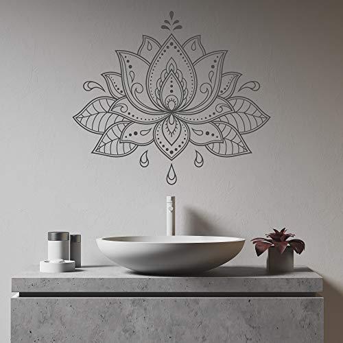 Calcomanía de flor de loto Mandala calcomanía de pared única Mandala Lotus Decal Henna Design Lotus Mandala Wall Art Boho Bohemio Decoración para el hogar