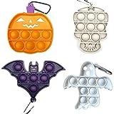 4 Pcs Halloween Mini Pop Fidget Simple Dimple Toy,Mini Push Pop Fidget Toy Keychain,Silicona Sensorial Fidget Juguete,Autismo Necesidades Especiales Aliviador del Antiestrés del Juguetes para Niños