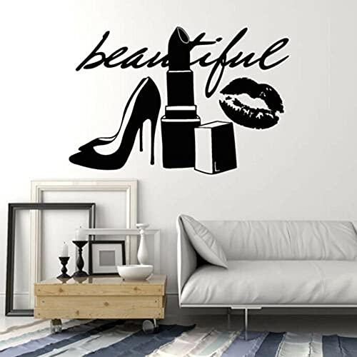 Kjlfow Hermosos Zapatos de lápiz Labial de Moda Etiqueta de la Pared habitación de niña Vinilo Tatuajes de Pared Letras salón de Belleza decoración del Dormitorio 83x56 cm