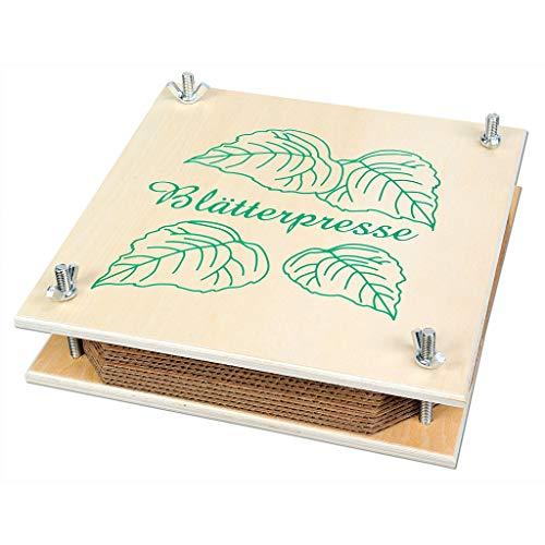 Wiemann Lehrmittel Kleine Pflanzenpresse, 9 Einlegeplatten, 19,5 x 19,5 x 4 cm