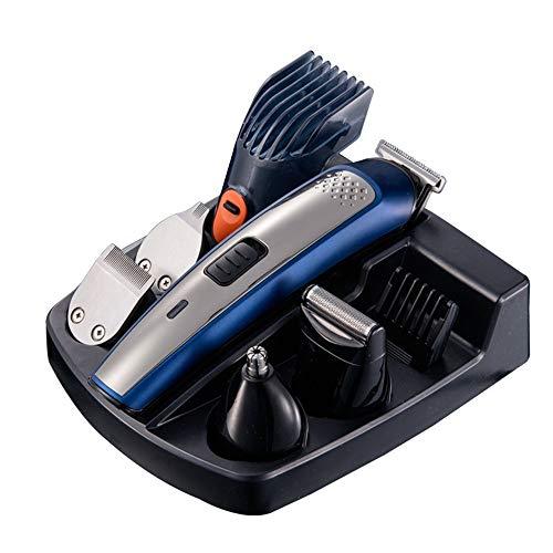 Zhengowen Tondeuse à Cheveux 5-in-1 électrique Clipper Lavable Multifonctions Tondeuse de Rasoir électrique Hommes Set Rasoirs sans Fil Rechargeable (Couleur : Bleu, Size : 17.5x4.0CM)