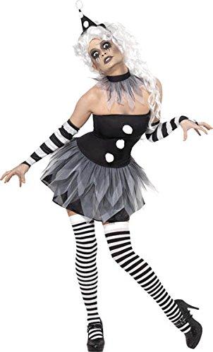 Smiffy's Smiffys-34226M Halloween Disfraz de Pierrot siniestro, con Vestido, Adornos para el Cuello y los Brazos y y, Color Negro, M - EU Tamaño 40-42 34226M