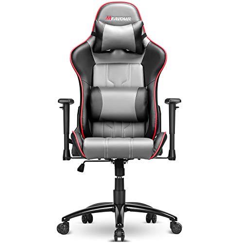 Mfavour Gaming Stuhl, ComputerStuhl, Ergonomischer Stuhl mit Verstellbare Armlehne,180º Verstellbare Rücklehne, Höhenverstellbarer Schreibtischstuhl mit Kopfstütze und Lendenstürtze
