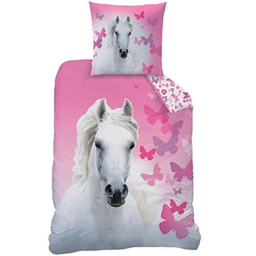 Matt&Rose Bettwäsche mit Pferd weiß Butterfly 135 x 200 cm 80 x 80 cm