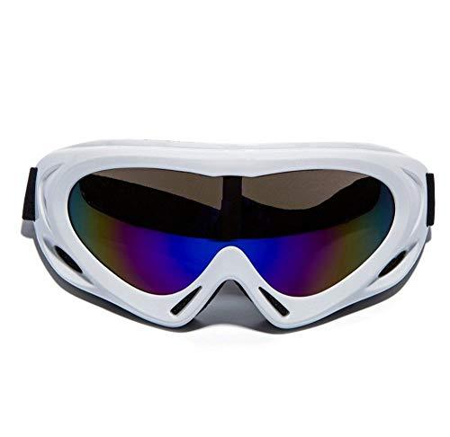 XUWLM Skibrille Professionelle Skibrille UV400 Schutz Anti-Fog Staubdichte Schneebrille Motorrad Fahrradbrille Airsoft Schutzbrille Outdoor Sports Protective, White