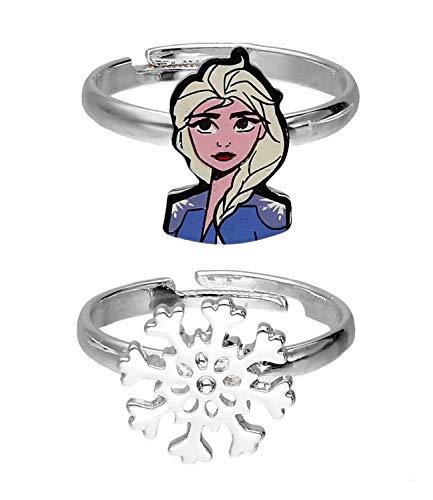 SIX Juego de anillos con diseño de Elsa de Frozen, copos de nieve para niños...