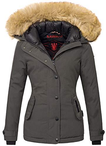 Navahoo warme Damen Winter Jacke Winterjacke Parka Mantel Kunstfell B392 (XL, Anthrazit)