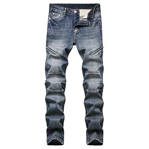 WQZYY&ASDCD Jeans Vaqueros Pantalon Denim Hole Jeans Rasgados para Hombres Hip Hop Punk Streetwear 40Winch 9226