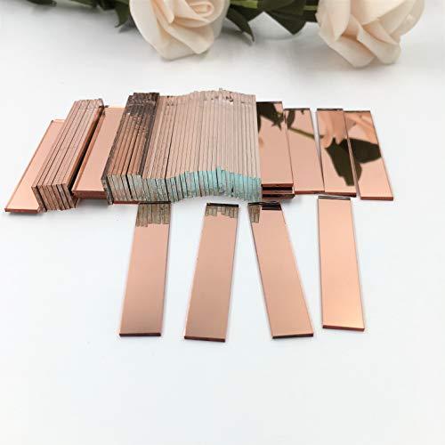 """Piastrelle a mosaico rettangolari da 0,9 x 5,1 cm, colore oro rosa, confezione da 100, rose gold, 3/8\"""" x 2\"""""""