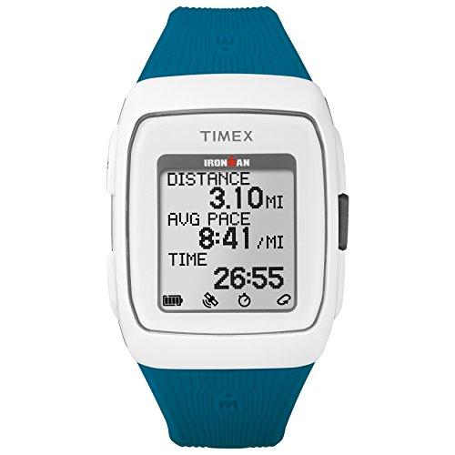 Timex Unisex TW5M12000 Ironman GPS White/Teal Silicone Strap...