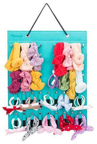Baby Girl Headbands Storage Holder, Newborn Headbands and Bows Hanging Organizer (Green)