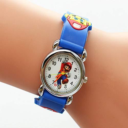 XINTENG Mario Bros reloj de dibujos animados 3d encantador Mario Bros niños niñas niños niños estudiantes cuarzo reloj muy popular