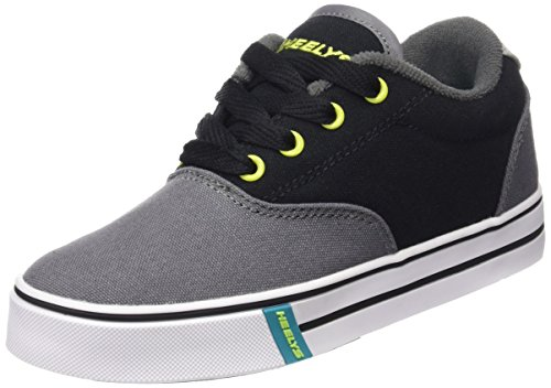 Heelys Launch Canvas Sneaker , Charcoal/Black/Lime, 6 M US Big Kid