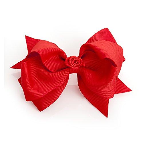 Große Haarschleife, rot, grob gerippt mit mittigem Blumendetail, auf Clip, 12 cm
