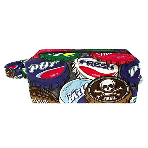 Bolso de Cosméticos Neceser de Viaje para Mujer y Niñas Organizador de Bolso Cosmético Accesorios de Viaje Estuche de Maquillaje Tapas de Botellas de Cerveza de Color 21x8x9 cm