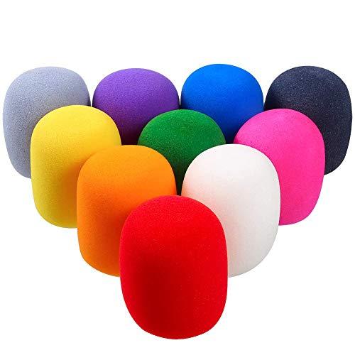 10Pcs Espuma de Micrófono Auricular Parabrisas Micrófono Parabrisas para Protección de Micrófono Cubierta de Espuma de Micrófono de Mano Parabrisas Multicolor