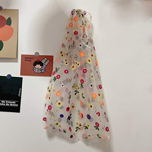 Zrshygs - Bolsa de compras multifunción con bordado de flores, reutilizable, tela de malla, bolsa de reciclaje, organizador de almacenamiento