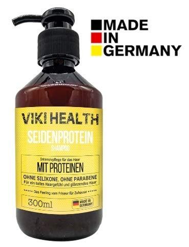 VIKI HEALTH Haarkur Protein Shampoo ohne Silikone, ohne Mikroplastiken - gegen Spliss & Frizz, Haarausfall - für flauschiges Haar & Volumen, Protein Pflege, Deutsches Markenprodukt - Made in Germany