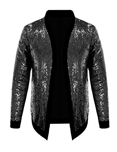 Pacinoble Mens Cardigan All Over Sparkle Sequin Open Front Long Sleeve Jacket
