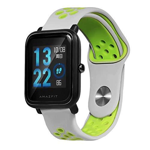 Saisiyiky Cinturino per amazfit BIP Youth–20mm Silicone Cinturino di Ricambio per Galaxy Watch, Gear S2Classic, Huawei Watch 2, Verde 02