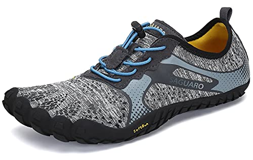 SAGUARO Barfußschuhe Damen Herren Zehenschuhe Traillaufschuhe Weich Bequem Barfussschuhe Fitnessschuhe Männer Frauen Trainingsschuhe für Joggen Laufen Wandern, Münzgrau, 44