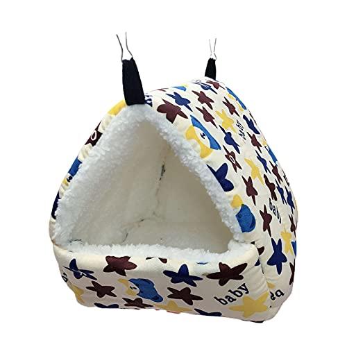 floatofly Nid d'écureuil avec motif dessin animé pour garder la chaleur Texture douce pour petit animal hamster, écureuil, cochon d'Inde, produit chaud pour animal domestique – Bleu étoile XL