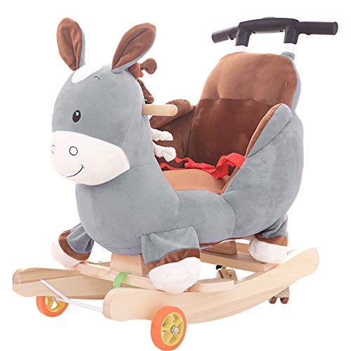 BAIDEFENG Baby Rocking Horse, Wooden Kids Rocking Chair 2 in 1 Child Seat Dual-Purpose Plush Toy with Wheels/Music Boy Girl Gift