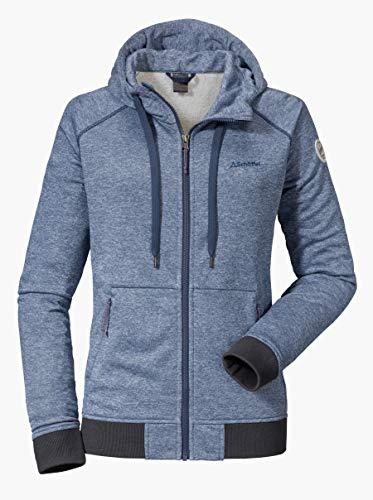 Schöffel Damen Hoody Akureyri L warme Kapuzenjacke mit Reißverschluss-Taschen, atmungsaktive Sweatjacke für Frauen in Melange Optik, Blau(blue horizon), 42(Herstellung größe:XL)