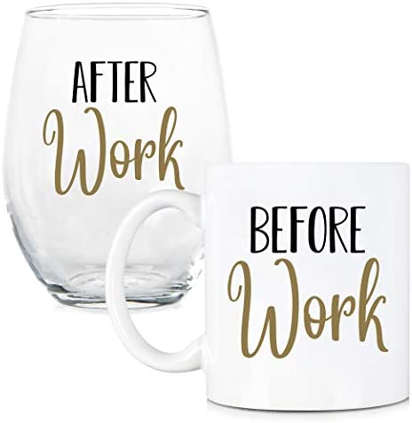 Before Work After Work 11 oz Coffee Mug and 15 oz Stemless Wine Glass Set Work Friend Glass product image