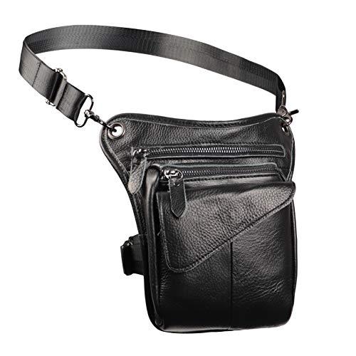 Realmark, borsa da uomo in pelle con gamba, borsa a tracolla in stile gotico per la coscia, multiuso, marsupio da moto, Nero (Nero) - RM089