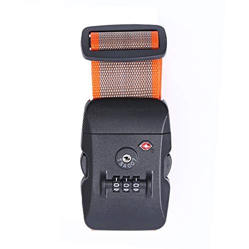 Logic(ロジック) スーツケースベルト TSAロック ベルト (全12色 ベージュ × オレンジ) [盗難・紛失・荷崩れ防止] スーツケース用 鍵付き ダイヤルロック タスロック 長さ調節可能