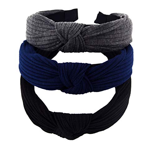 STHUAHE Pack of 3 Women Wide Stripes Cloth Cross Knot Hair Hoop Hairband Headband Hair Accessories (black Darkgrey Deepblue)