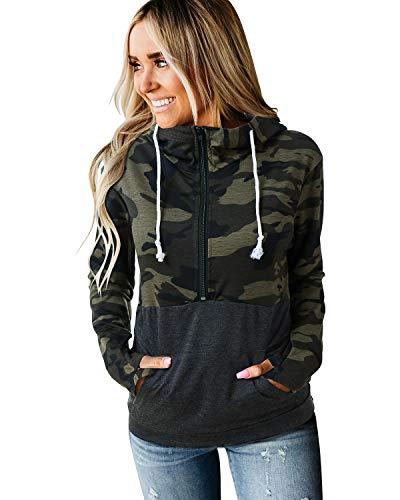 SOLERSUN Plus Size Animal Print Tops for Women, Women's Casual Long Sleeve Lightweight Hoodies Sweatshirt Zip Color Block Loose Pullover Tops with Pockets Camouflage XXL