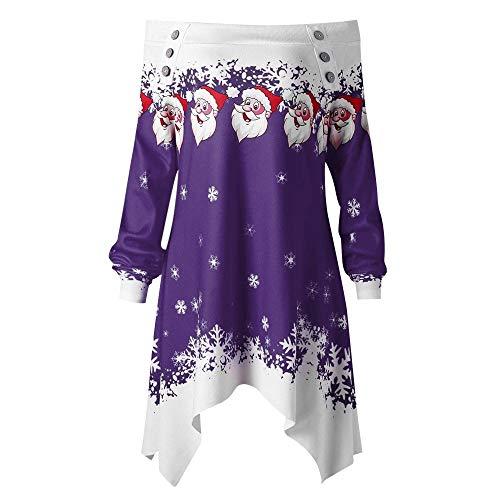 VEMOW Heißer Einzigartiges Design Mode Damen Frauen Frohe Weihnachten Schneeflocke Gedruckt Tops Cowl Neck Casual Sweatshirt Bluse(Y2-a-Violett, 36 DE/M CN)