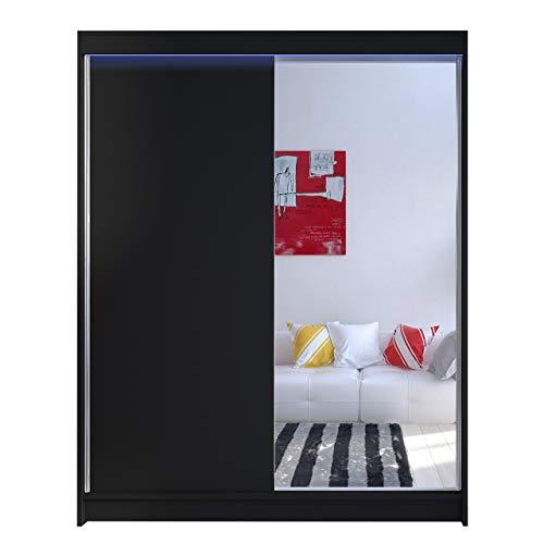 Kleiderschrank Metropolis I mit Spiegel, Praktische Schwebetürenschrank mit Kleiderstange und Einlegeboden, Garderobe, Diele & Flur Schlafzimmerschrank, Schlafzimmer (Schwarz, mit RGB LED Beleuchtung)