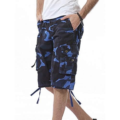 Kurze Hose Shorts MäNner Sommerhosen Xjp LäSsige Einfarbig Camouflage Strandarbeitshose FüR Herren Mit Tasche Cargo Shorts Badehose Sportshorts Heimhosen Sommerhosen (30, Blau)