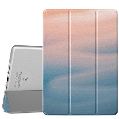 MoKo Case Fit iPad Air 2, Slim Lightweight Smart-shell Stand Cover with Translucent Frosted Back Protector Fit iPad Air 2 9.7' Tablet - Fresh Blue (with Auto Wake/Sleep, Not fit iPad Air)