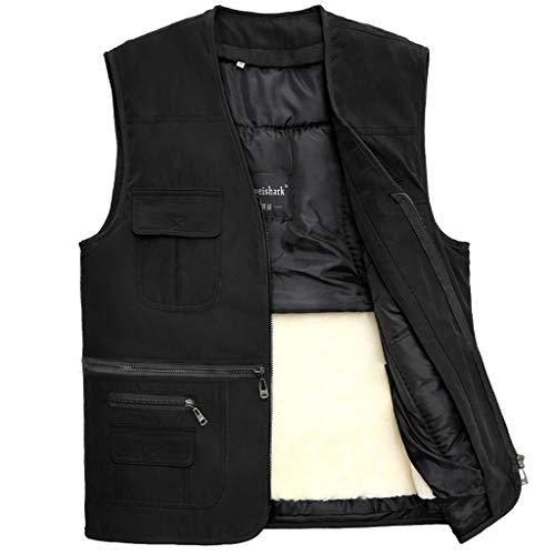 XXT Herren Weste Baumwolle Weste ärmellos Jacke Groß Multi Pocket Outdoor Weste Schulter Mantel Warm, Schaffell-Plüsch + Polyester, C, Large
