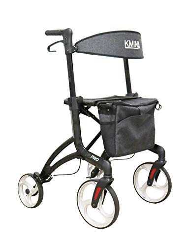 KMINA PRO - Andador Alto para Ancianos (Usuarios de 1,80 a 2,00 m aprox.), Andador para Ancianos 4 Ruedas Grandes, Andadores para Ancianos con Asiento, Andadores Adultos Plegable con Ruedas Grandes ✅
