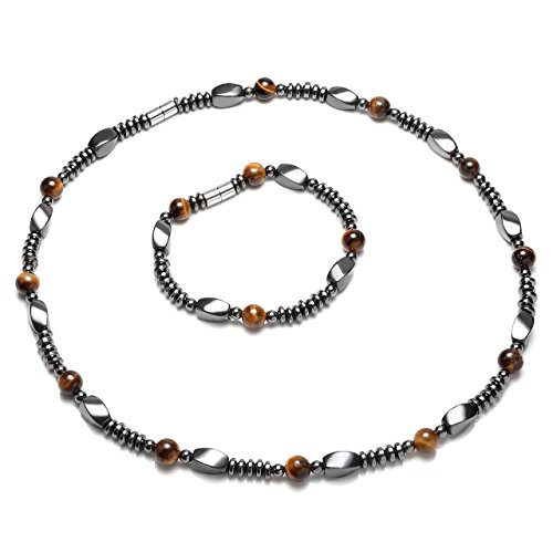 Top Plaza Men's Womens Healing Tiger Eye Stones Hematite Magnetic Beads Unadjustable Clasp Therapy Bracelet Necklace Set for Pain Anxiety Relief, 1