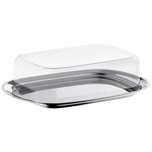 WMF Butterdose Edelstahl 17,5 x 11,5 cm, mit Kunststoffhaube Cromargan Edelstahl poliert, spülmaschinengeeignet