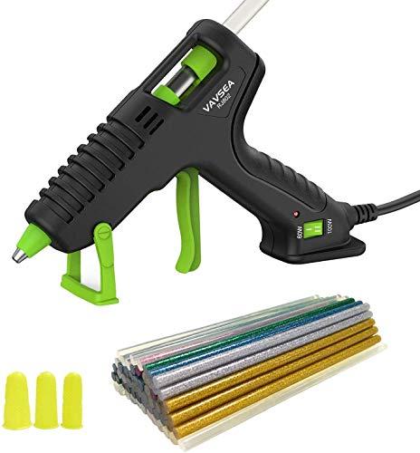 Hot Glue Gun, VAVSEA 60/100W Dual Power High Temp Heavy Duty Glue Gun Kit with 60 Pcs Premium Glue Sticks, 3 Rubber Finger Protector, Use for School DIY Arts and Kids Crafts, Home/Office Repairs