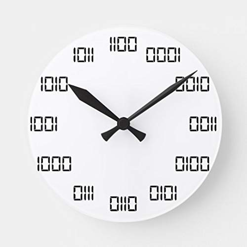 JeremyHar75 Binary Time Lustige Wanduhr aus Holz, modern, leise, nicht tickend, für Wohnzimmer, Küche, Schlafzimmer, Wandkunst, Dekoration, Einweihungsgeschenke