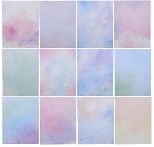 Watercolor Stationery Paper for Writing, 12 Designs (8.5 x 11 In, 96 Sheets)