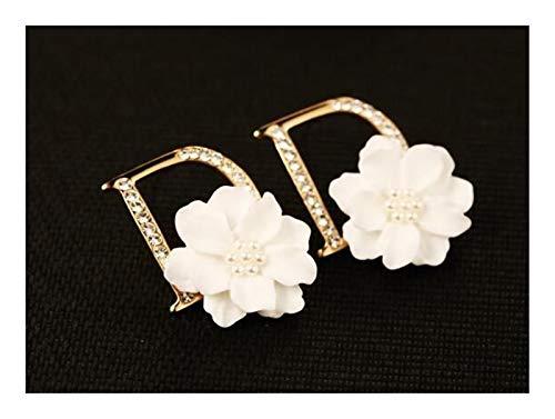 LCHB Pendientes de Moda de Flores (Color : Gold)