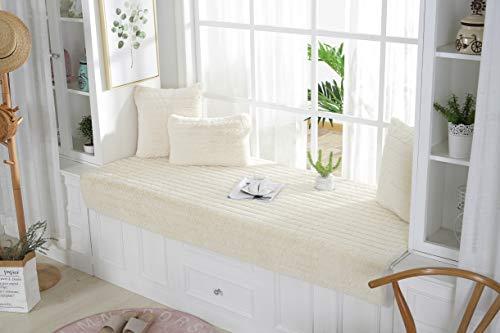 Sincere Alfombrilla de asiento de ventana de felpa, tamaño personalizado, para sofá, alfombra de área, alfombra tatami, gruesa antideslizante, funda de asiento para sofá/banco.