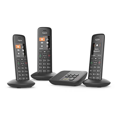 Gigaset C570A Trio 3 schnurlose Telefone mit Anrufbeantworter (Komfort mit großer Nummernanzeige, DECT-Telefone mit Farbdisplay, einfache Bedienung) schwarz